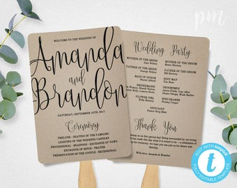 Wedding Program Fan Template, Calligraphy Script Printable Program, Instant Download, DIY Ceremony Program Fan, Kraft Paper
