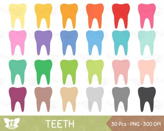 Tooth Clipart, Teeth Clip Art, Dentist Molar Health Clean Hygiene Cute Dental Care Scrapbooking Rainbow, PNG Images, Commercial Use