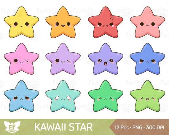 Kawaii Star Clipart Cute Stars Clip Art Galaxy Happy Funny