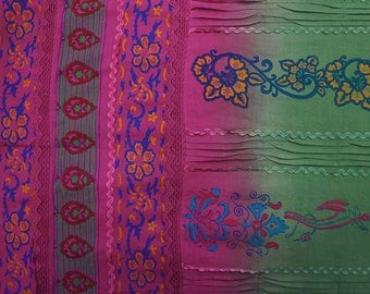 """Apparel Fabric, Floral Print, Pink And Green Fabric, Dress Fabric, Quilt Material, 42"""" Inch Cotton Fabric By The Yard ZBC7757A"""
