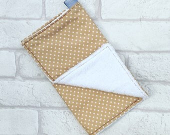 Burp Cloth // Baby burp cloth with brown and white spots from newborn