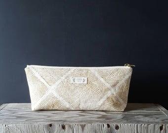zentangle zippered pouch - tan