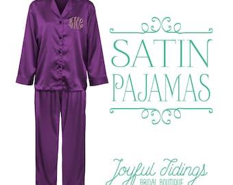 Bridesmaid Pajamas, Satin Long Pajama Sets, Bridesmaid Gift, Bridal Party Gift, Bridesmaid Gift Set, Wedding Pajamas, Getting Ready Pajamas