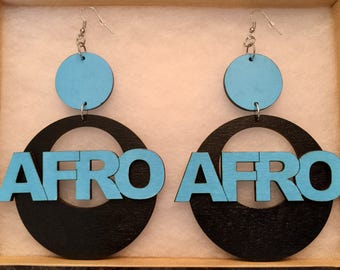 Large Hand Painted Wood Afro Earrings