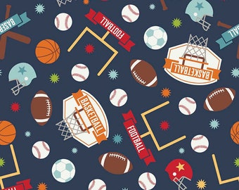 Game Day Sports Main Navy - Riley Blake Designs - Blue Basketball Football Soccer - Quilting Cotton Fabric - by the yard fat quarter half