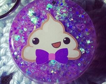 Cute Purple Bowtie Poop Charm Keychain