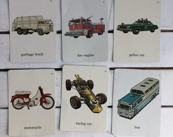 Vintage Flash Card Transportation / 70's Flash Cards
