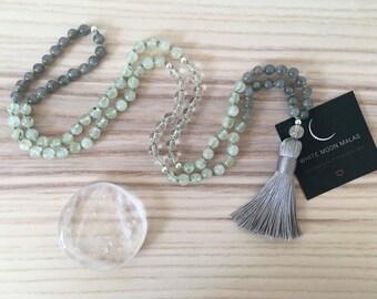 108 Mala Necklace, Meditation Mala, Labradorite, Crystal Quartz, Prehnite, Yoga Jewelry, Healing Prayer Beads, Natural Gemstone Mala