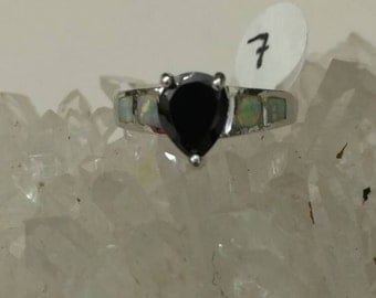 Opal and Onyx Party Ring, Size 7