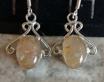 Golden Rutilated Quartz Earrings