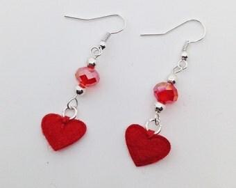 Red heart drop earrings - Heart dangle earrings - red dangle earrings - birthday day gift - red dangle earrings - gift for her -red earrings