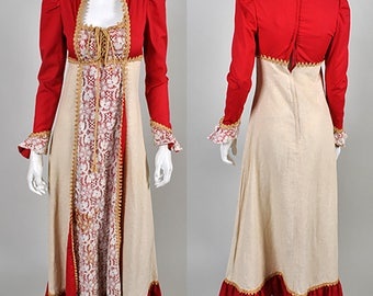 Vintage 1970's  Gunne Sax Maxi Dress Red and Cream Long Sleeve S4