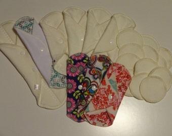 22 Piece set REUSABLE MAMA CLOTH Pads & Nursing Pads-Crunchy Mama Starter Pack-Gift Idea-HuggableEarth