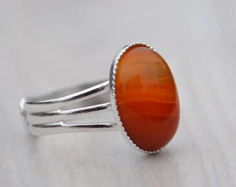 Red agate ring, Agate ring, Red agate rings, Red agate silver ring, Ring with agate, Silver plated agate ring, Oval cabochon agate ring.