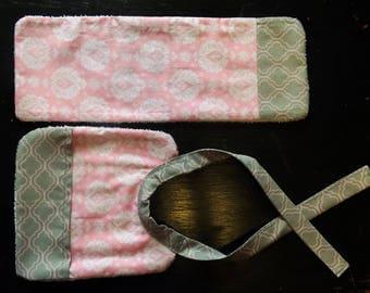Pink and Gray Bib and Burp Rag Set