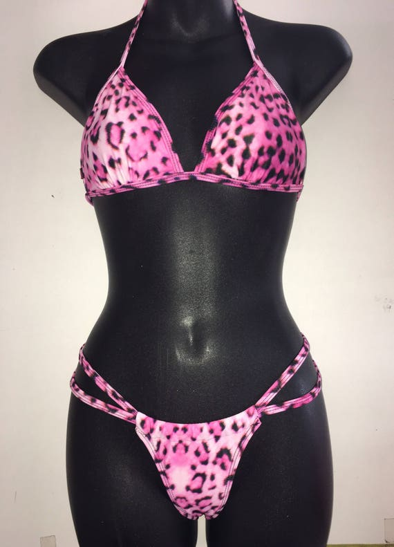 SALE*** MissManeater ONEofaKIND fixed thin bind triangle top + sliding strap super low boutique bikini pant *** BRAZILIAN cut!