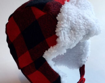 Baby trapper hat, baby aviator hat, baby lumberjack hat, baby buffalo plaid hat, trapper hat, aviator hat, hipster hat