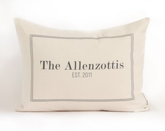Family Name Pillow, Housewarming Gift, 2nd Anniversary Gift, Wedding Gift, Engagement Gift, Personalized Pillow, Home Decor