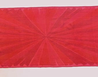 Vera Scarf, 1960s, Monochromatic Abstract Geometric design in Cranberry and Cherry Red on Sheer Rose Red Silk