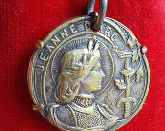 Antique French Saint Joan of Arc Medal Pendant Art Nouveau Religious Catholic Jewelry St. Joan The Warrior First Communion Medal Gift