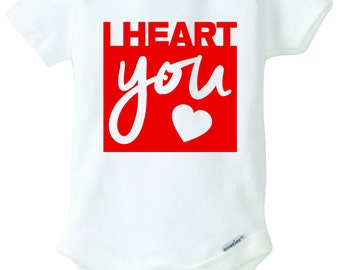 I Heart You Baby Onesie Design, SVG, DXF, EPS Vector files for use with Cricut or Silhouette Vinyl Cutting Machines