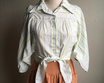 vintage 70s spin striped pale button up bat wing sleeve high waist tie point collar blouse top