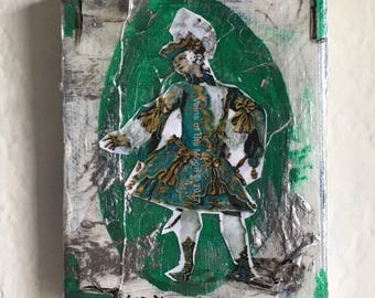 Miniature, Acrylic Collage, 1700s, Teal, Small Painting
