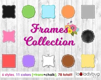 Frames collection. Color frames clip art set. Frames clipart kit. 78 frames total. Includes chalk and transparent frames. 6 styles 11 colors