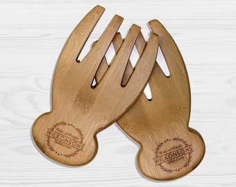 Personalized Salad Tossers, Personalized Salad Hands, Custom Salad Tossers, Custom Salad Hands, Salad Servers --SH-BAM-WILKONSONS