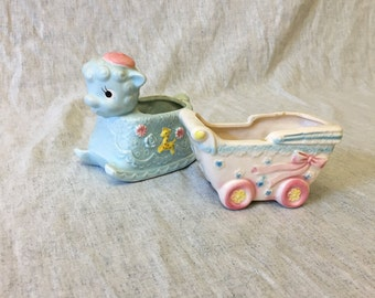 Vintage Napco 1950s Small Nursery Planters, Set of 2, Baby Carriage and Blue Rocking Lamb Planters