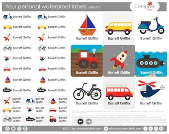 Transport - Your personal waterproof labels (68 Qty) Free Shipping