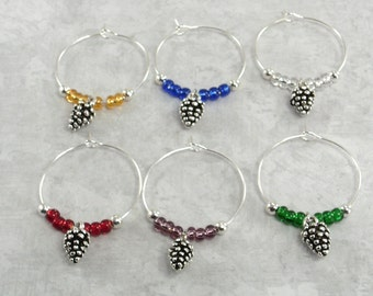 Pine Cone Wine Charms | PineCone Wine Glass Markers