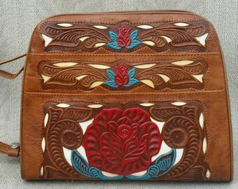 Unique, Hand Painted, Tooled, Mexican Leather Purse. With Intricate Cut Outs and 42 inch Adjustable Strap.