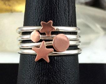 Stacking Ring Set, Circle Ring, Full Moon Ring, Star and Moon Ring, Sterling Silver Ring Set, Star and Planet Rings, Planet Ring, Star Rings