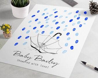 Baby Shower Guest Book: Umbrella Fingerprint Guestbook, Showered With Love, Thumbprint wedding guestbook alternative, fingerprint tree
