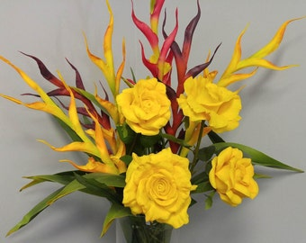 Real Touch Birds of Paradise & Yellow Roses Flower Arrangement/Floral Centerpiece/Artificial Flowers/Home Decor
