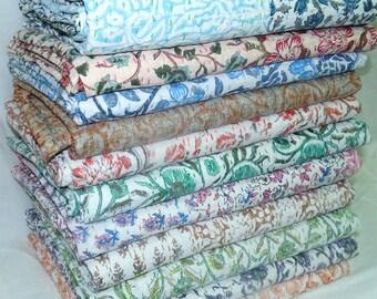 5 Piece Wholesale Lot Kantha Quilt Twin Size Patchwork Bedsheet Floral Design Bedcover Handmade Bedspread Assorted Color