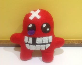 Super Meat boy soft toy / plushie - video game character, cute quirky nerd/geeky item/gift -unique and handmade