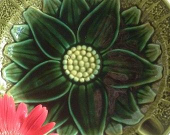 Large Mid Century Ceramic Flower Ashtray