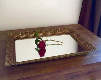 Vanity Tray; Metal Vanity Mirror with Filigree Edge; Vanity Mirror; Mirror Vanity Tray; Ornate Mirror; Mirrored Tray; Boudoir Tray