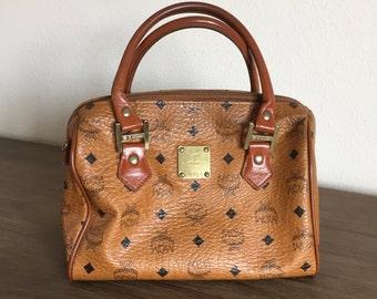 Vintage MCM Munchen Cognac Leather Boston Bag; Genuine MCM Top Handle Purse; MCM Leather Bag; Vintage Ladies Handbag; Vintage Purse