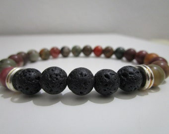 Bracelet Mokaita and Lava volcanic, bracelet for man, bracelet of stones semi-precious, gift for man