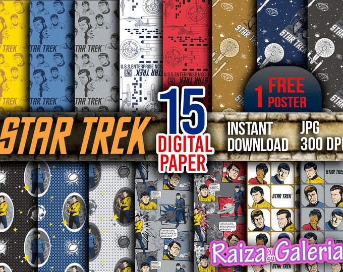 AWESOME Star Trek Digital Paper. Instant Download - Scrapbooking - STAR TREK Printable Paper