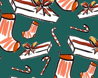 Socks and presents wrapping paper - 3 large sheets to a roll