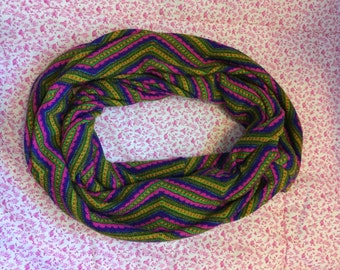 Green, Pink, and Purple Chevron Striped Infinity Scarf