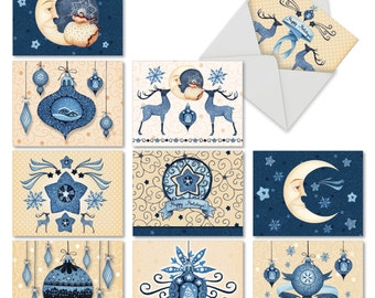 M6700XSB Blue Christmas: 10 Assorted Blank Christmas Note Cards Featuring Christmas Motifs in Soothing Blue and Cream, w/White Envelopes