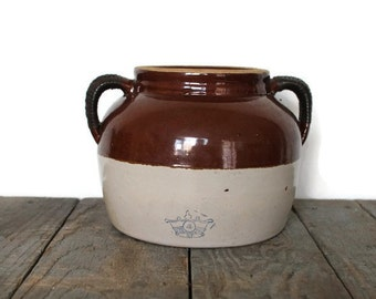 4 Qt. Robinson Ransbottom Crock, Crown Pottery, Crown Crock, Bean Crock, Vintage Crock with Crown, Farmhouse Decor, Vintage Pottery