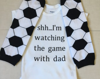 Shh..I'm watching the game with dad baby bodysuit...soccer, baby clothes, girl boy clothes, baby shower gift,  trendy baby outfit