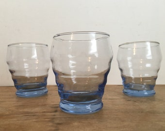 French Vintage Blue Petite Liqueur / Shot  Glasses (Set of 3)
