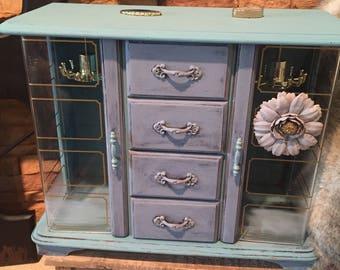 Blue Jewlery Box, Jewelry Box, Rustic Jewelry Box, Girls Jewlery Armoire, SHABBY CHIC, Antique Blue Chalk Paint, Distressed, Upcycled, Stone
